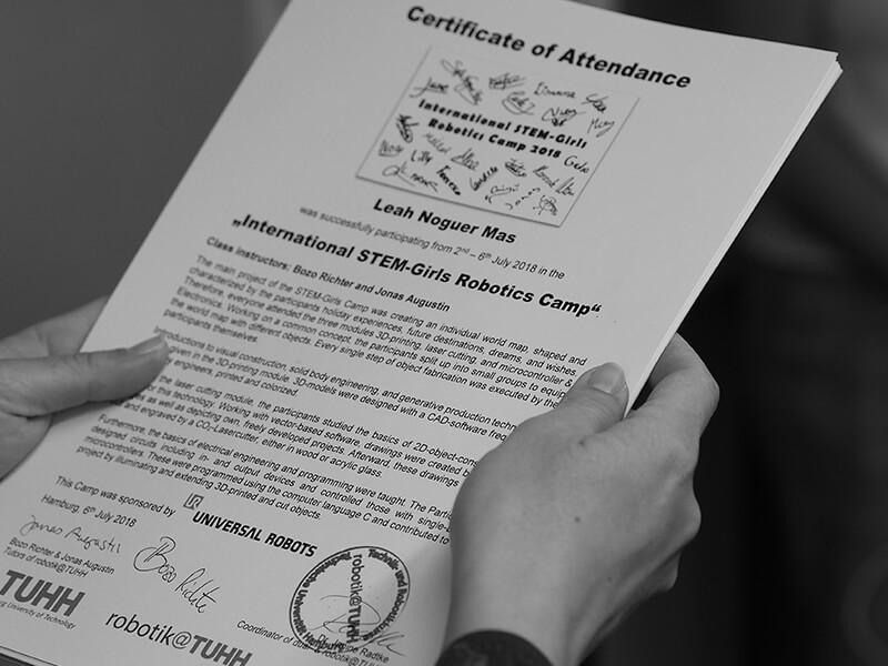 Certificate of Attendance by Robotics Institute Partner TUHH - Hamburg University of Technology